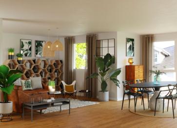 [3D] Un aménagement de salon classique avec une pointe bohème